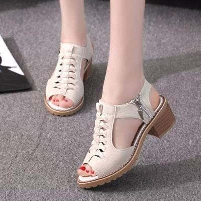 Sandal nữ cao gót phong cách Hàn Quốc - Kem - SD02K