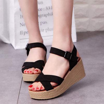 Giày sandal đế xuồng 7 cm quai chéo 10190-S8-ZM Shoegarden